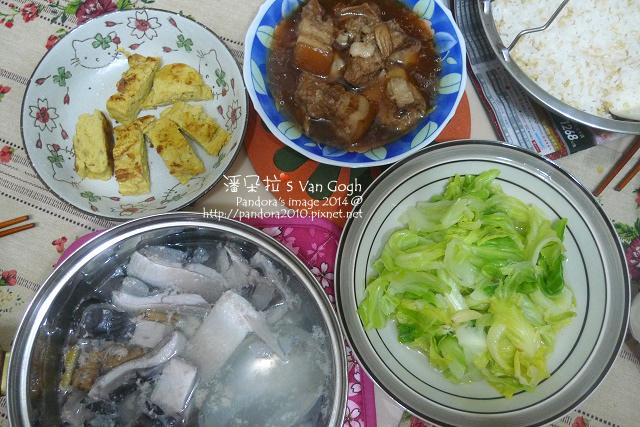 2014.01.20-虱目魚肚湯、滷肉、嫩蛋捲、炒高麗菜