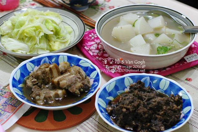 2014.01.22-白蘿蔔湯、滷肉、梅乾菜滷肉、炒高麗菜、米飯.jpg