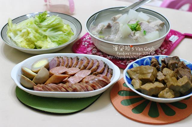 2014.01.27-豬肉蘿蔔湯、小菜拼盤、燙高麗菜.jpg