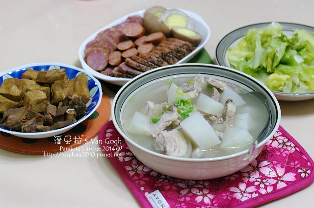 2014.01.27-豬肉蘿蔔湯、小菜拼盤、燙高麗菜-.jpg