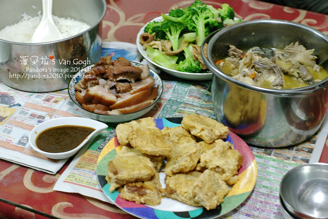 2014.02.01-燒酒雞、豬腳、魷魚青花菜、炸年糕、米飯.jpg