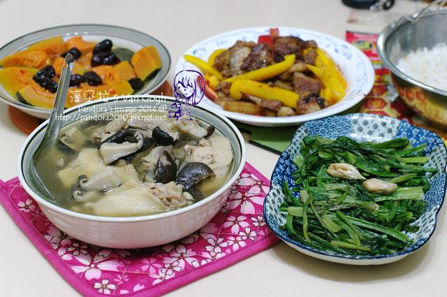 2014.02.05-香菇雞湯、沙茶甜椒回鍋肉、紅棗蒸南瓜、炒萵筍葉、米飯.jpg