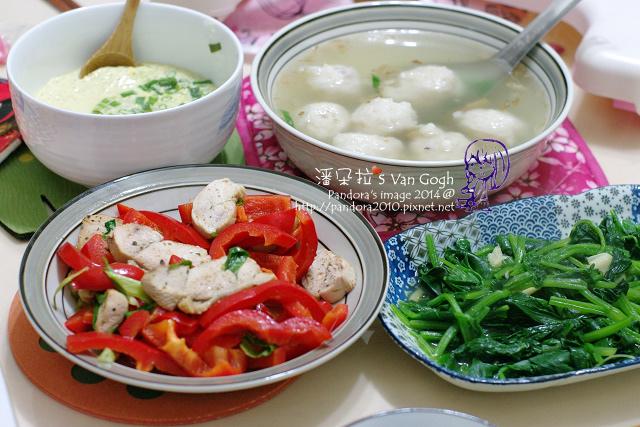 2014.02.12-花枝丸湯、甜椒雞胸、蒸蛋、炒菠菜-2.jpg