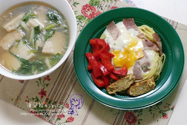 2014.02.19-蘿蔔糕湯、(全家)奶油培根義大利麵.jpg