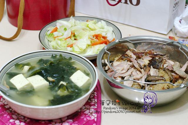 2014.02.24-海帶豆腐味噌湯、油飯、雞腿、炒高麗菜.jpg