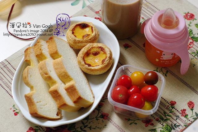 2014.03.03-二合一咖啡+蜜豆奶、羅宋麵包、蛋塔、蕃茄.jpg