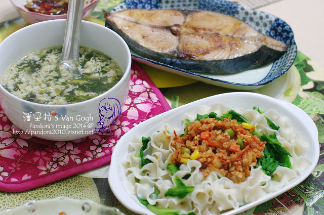 2014.03.14-紫菜蛋花湯、番茄肉醬刀削麵、乾煎土魠魚.jpg