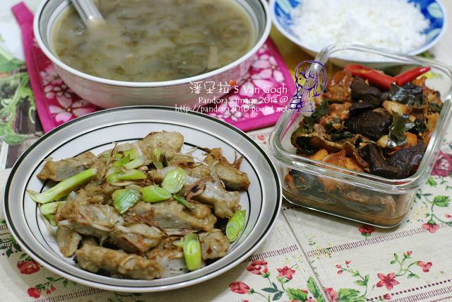 2014.04.08-海苔味噌湯、炒牛蒡魚板、三杯綜合菇.jpg