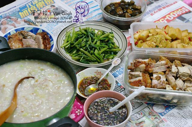 2014.04.12-高麗菜稀飯、燒鵝、油雞、叉燒、炒空心菜、醃結頭菜、醬瓜-.jpg