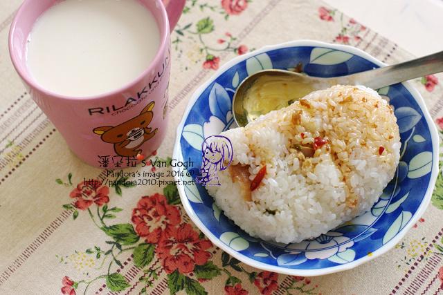 2014.04.14-豆漿+膠原蛋白粉、飯糰+辣醬油.jpg