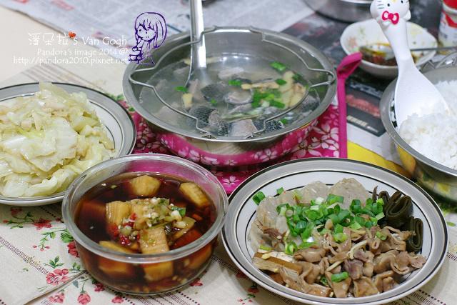 2014.04.15-魚皮湯、炒高麗菜、小菜、米飯.jpg