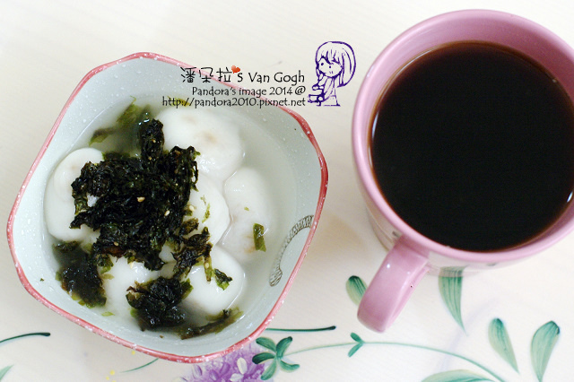2014.04.16-(義美)鮮肉湯圓+海苔酥、(卡薩)濾泡咖啡-曼特寧.jpg