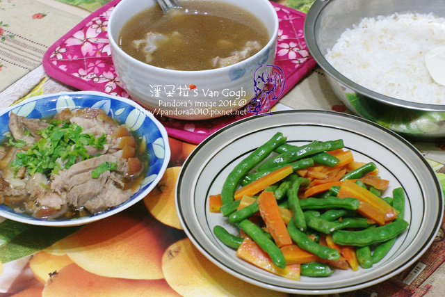 2014.05.08-晚餐。豬骨燉湯、豬腳、炒四季豆、米飯.jpg