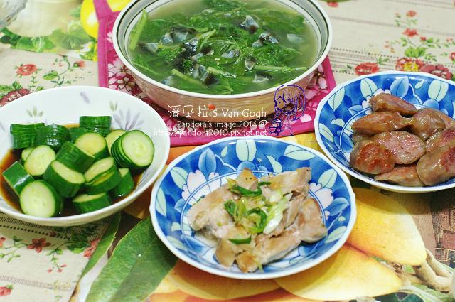 2014.05.21-莧菜皮蛋湯、煎香腸、雞腿排、涼拌黃瓜-.jpg