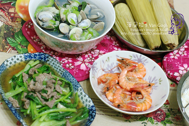 2014.05.26-蛤蠣絲瓜湯、草蝦、肉絲炒A菜、糯玉米、米飯.jpg