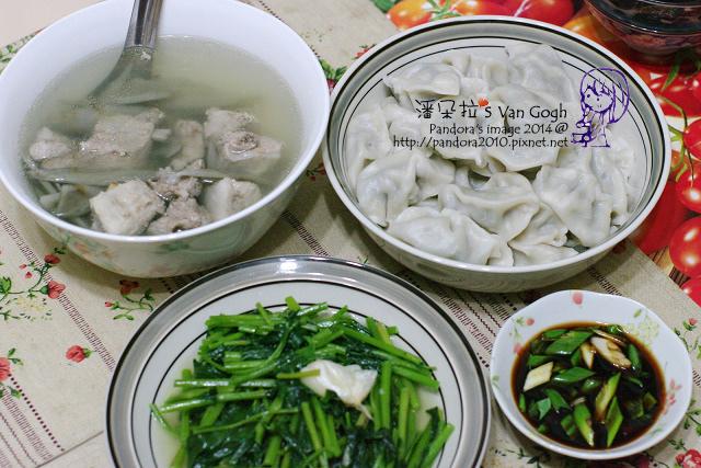2014.05.30-牛蒡排骨湯、韭菜水餃、炒皇宮菜-.jpg