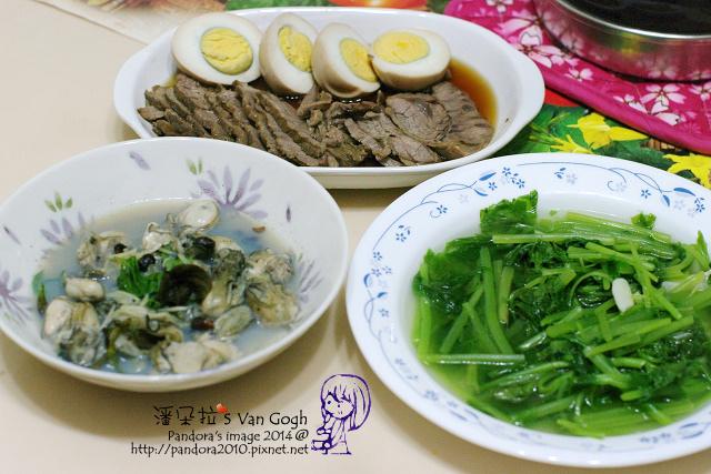 2014.06.11-滷牛腱、滷蛋、豆豉鮮蚵、炒菠菜.jpg