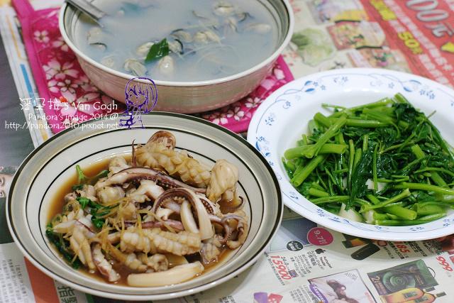 2014.06.16-豆豉鮮蚵湯、三杯花枝、炒空心菜.jpg