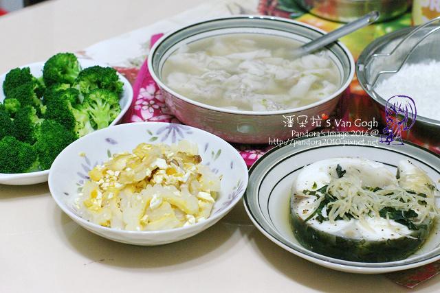 2014.06.18-餛飩湯、清蒸鱈魚、鹹蛋苦瓜、水煮綠花椰菜.jpg