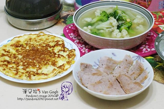 2014.06.27-晚。花椰菜湯、松阪豬、玉米煎蛋、米飯.jpg