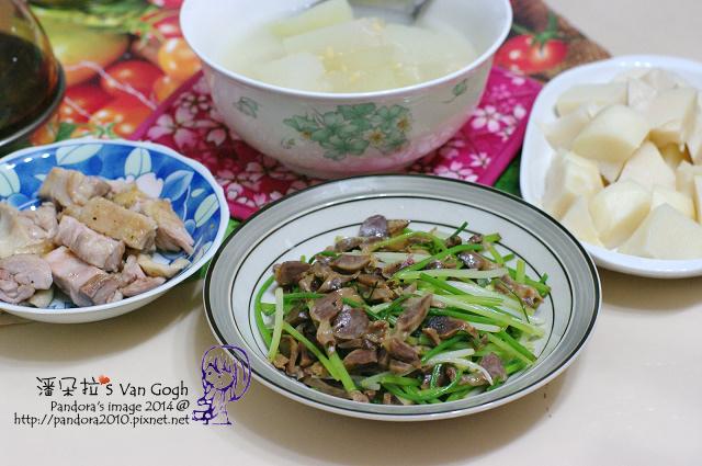 2014.07.11-冬瓜湯、韭菜炒雞胗、雞腿排、涼筍.jpg