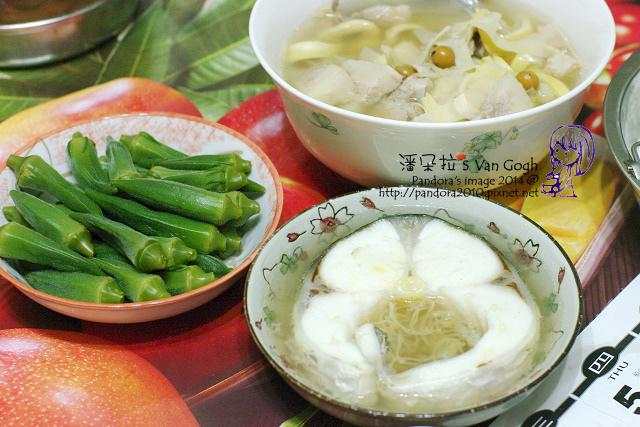 2014.07.22-晚餐。破布子豬肉竹筍湯、清蒸鱈魚、涼拌秋葵、米飯.jpg