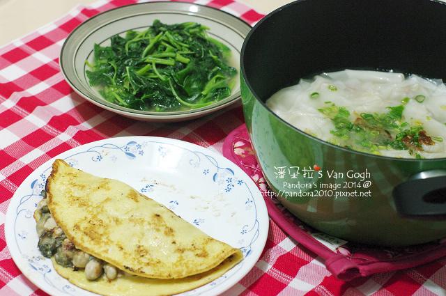 2014.09.15-蚵仔煎餅、((餛飩湯))、((炒莧菜))-.jpg