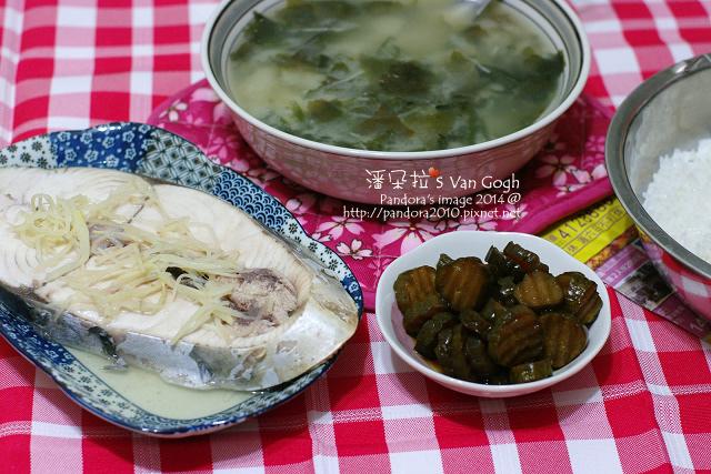 2014.10.03-海帶芽味噌湯、清蒸土魠魚、脆瓜.jpg
