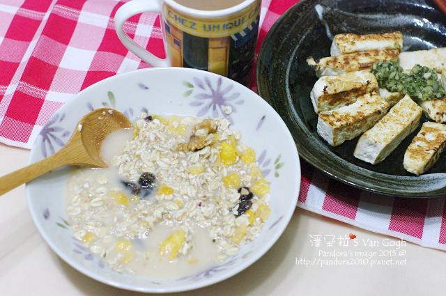 2015.03.27-(米森)有機冰湖核桃蔓越莓麥片+發酵乳、乾煎傳統豆腐佐油醋醬、三合一咖啡