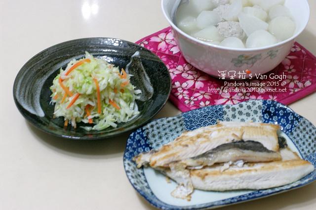 2015.03.04-蘿蔔貢丸湯、炒高麗菜絲、煎虱目魚.jpg