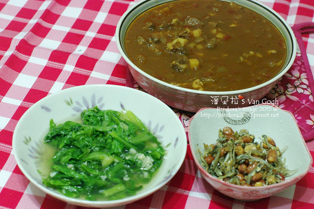 2015.03.17-甜味牛肉咖哩、炒小白菜、((小魚乾花生)).jpg