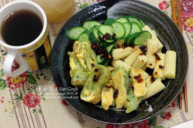 2015.03.25-菠菜抓餅+蛋、小黃瓜、玉米筍、(拉拉吉)手沖咖啡.jpg