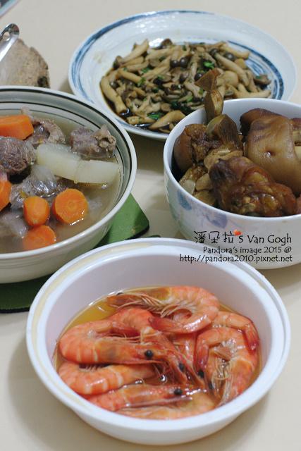 2015.06.08-((肉骨茶牛肉湯、醬香茶樹菇、滷豬腳、水煮鮮蝦)).jpg