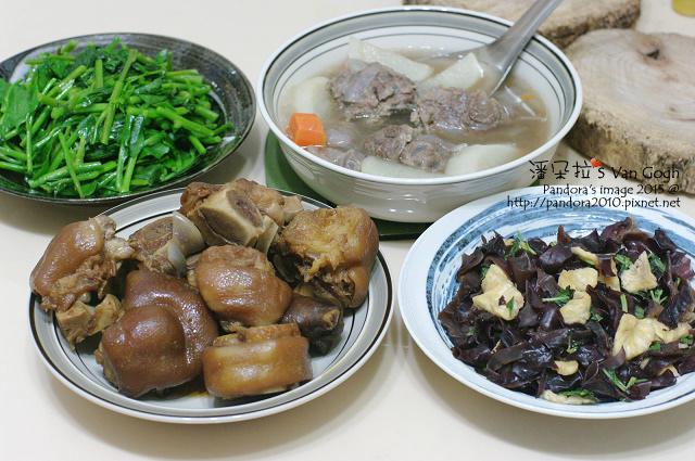 2015.06.09-(肉骨茶牛肉湯)'滷豬腳、鳳梨黑木耳、炒皇宮菜.jpg