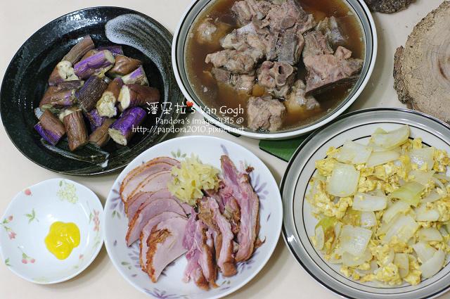 2015.07.09-肉骨茶湯、洋蔥炒蛋、((味噌燒茄子、德國豬腳)).jpg