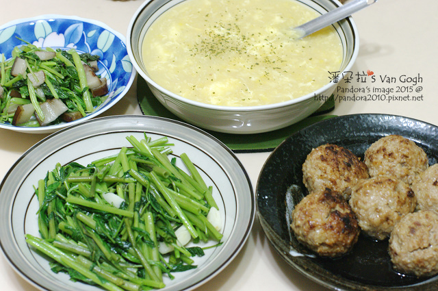 2015.07.30-奶油蛋花玉米濃湯、炒空心菜、紅燒獅子頭-3.jpg