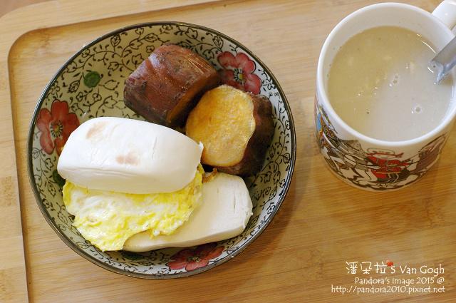 2015.09.19-饅頭、地瓜、煎蛋、核桃腰果燕麥+大燕麥片+膠原蛋白粉.jpg