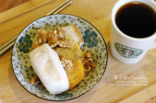2015.09.23-饅頭、地瓜、煎蛋、南棗琥珀核桃、熱美式咖啡.jpg
