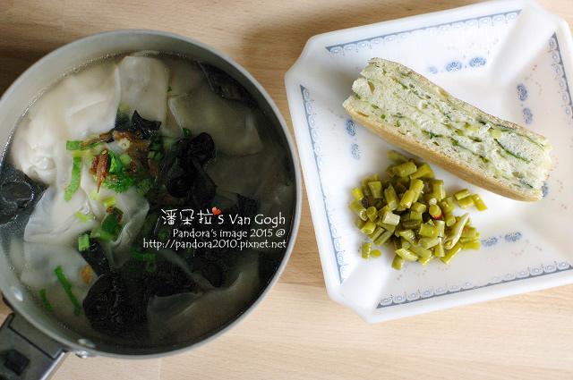 2015.11.06-蔥大餅、酸豆角、黑木耳餛飩湯.jpg