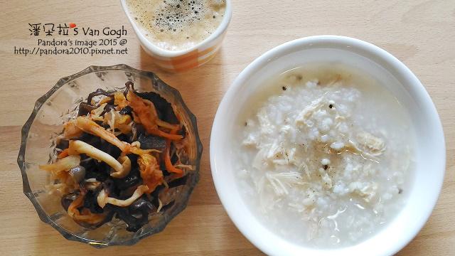 2015.11.18-泡菜蕈菇黑木耳、雞絲薏仁粥、熱美式咖啡-5.jpg