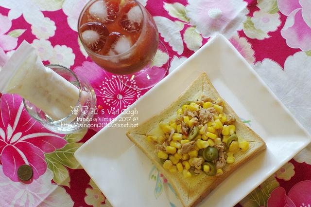 2017.07.29-鮪魚玉米沙拉起司厚片、蜂蜜檸檬蕃茄汁、蘋果優格冰