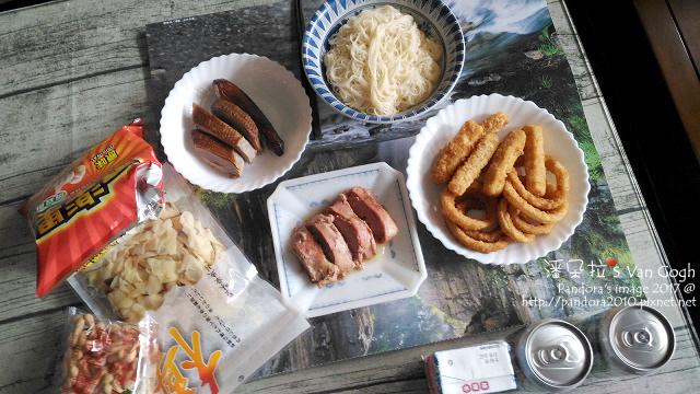 2017.09.05-麻油苦茶油拌麵線、烤鴨、炸洋蔥圈、炸鱈魚條、培根鵝肝醬.jpg