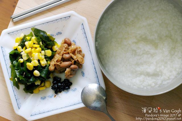 2017.09.20-土豆麵筋、海帶芽玉米粒、黑豆豉、清粥.jpg