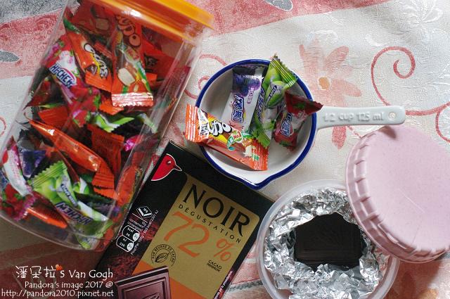 2017.09.23-嗨啾水果軟糖、77迷你乳加、(Auchan)72%黑巧克力.jpg