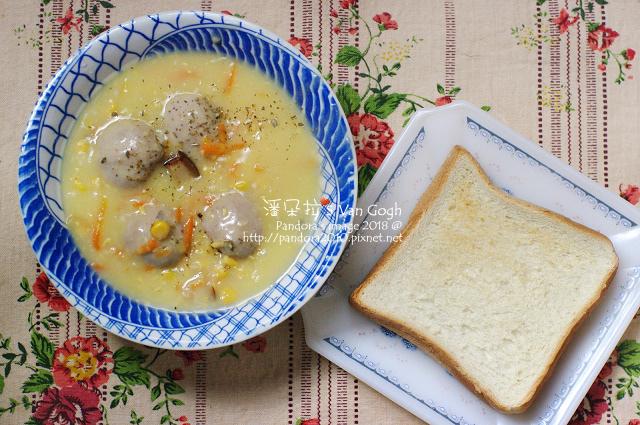 2018.02.02-奶油玉米濃湯+貢丸、烤厚片吐司.jpg