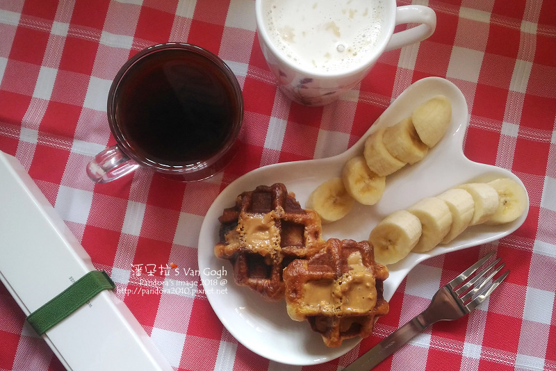 2018.03.25-豆漿、熱美式咖啡、比利時鬆餅、花生醬、香蕉.jpg