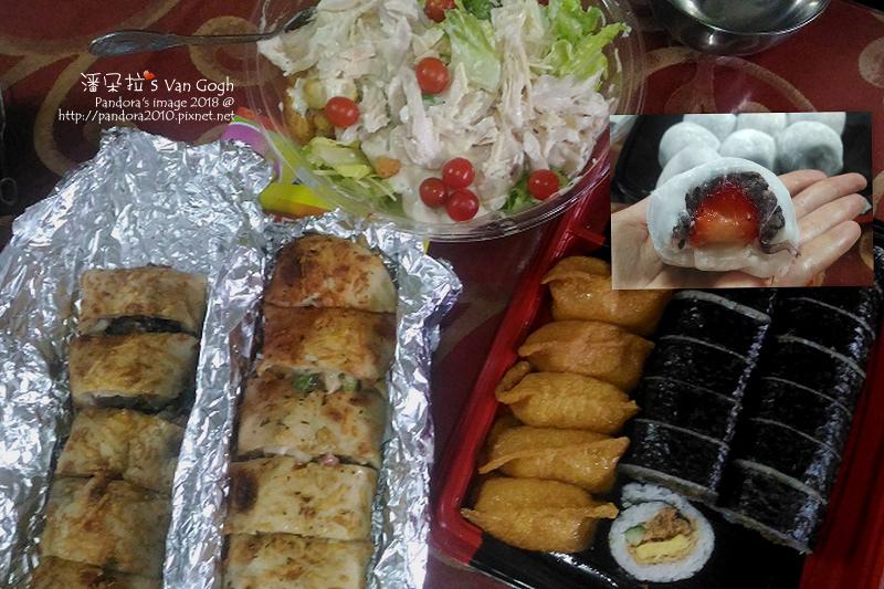 2018.06.10-(costco)凱薩沙拉、壽司捲、雞肉牛肉卷、草莓大福.jpg