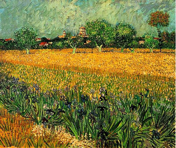 view-of-arles-with-irises-in-the-foreground-1888-Vincent van Gogh