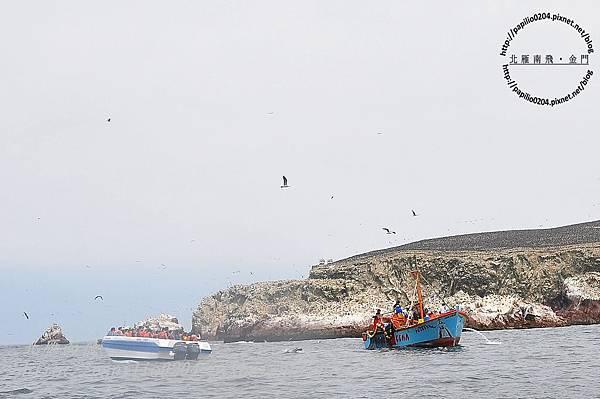 鳥島(islas ballestas)中作業的漁船與觀光客的遊船