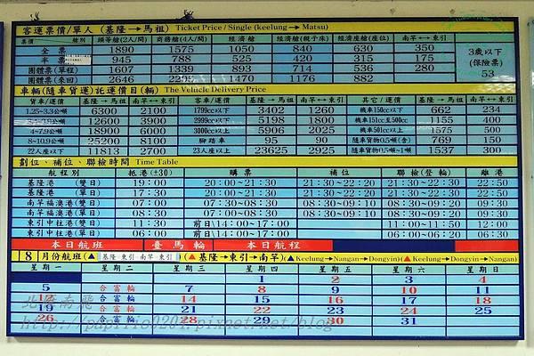 新華航業台馬輪票價與航程時間表